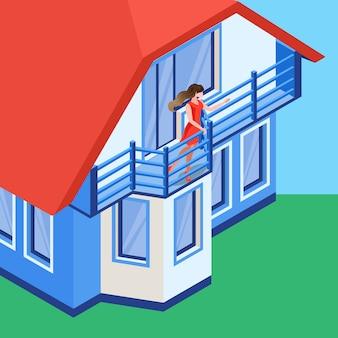 Wellenartig bewegende hand des mädchens auf balkon-flacher illustration