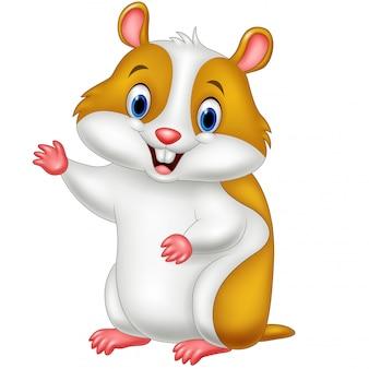 Wellenartig bewegende hand des netten hamsters