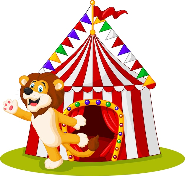 Wellenartig bewegende hand des netten löwes in der front des zirkuszeltes