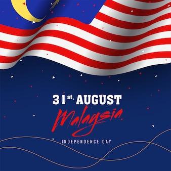Wellenartig bewegende malaysische flagge auf blauem hintergrund des konfettis