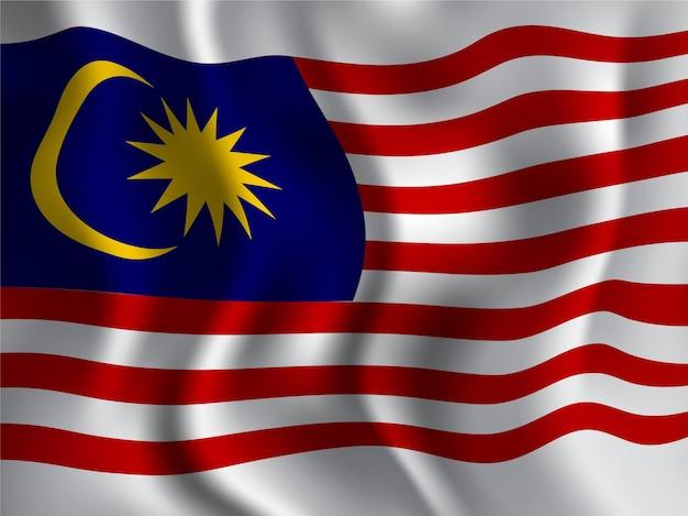 Wellenartiger stil der malaysischen flagge für den tag der unabhängigkeit