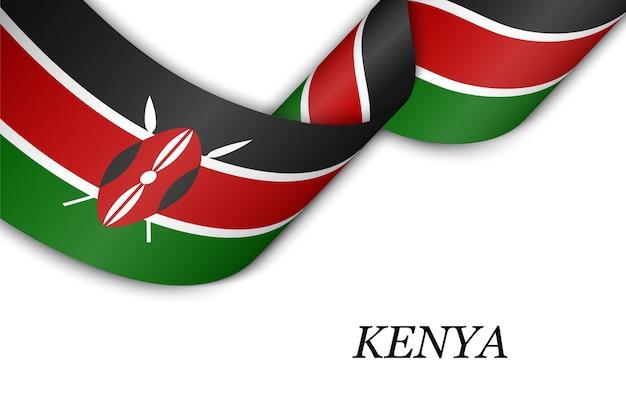 Wellenband mit flagge von kenia.