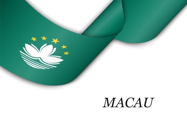 Wellenband mit flagge von macau.