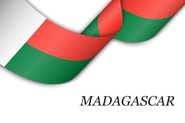 Wellenband mit flagge von madagaskar.