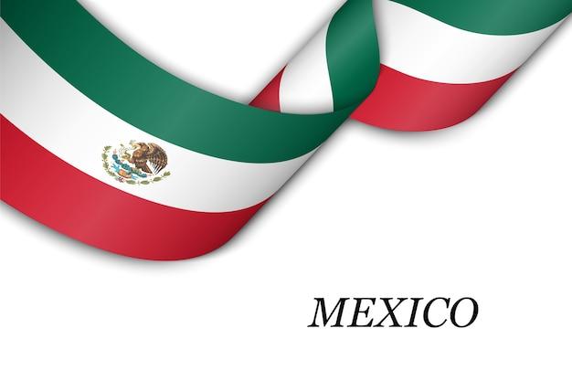Wellenband mit flagge von mexiko.