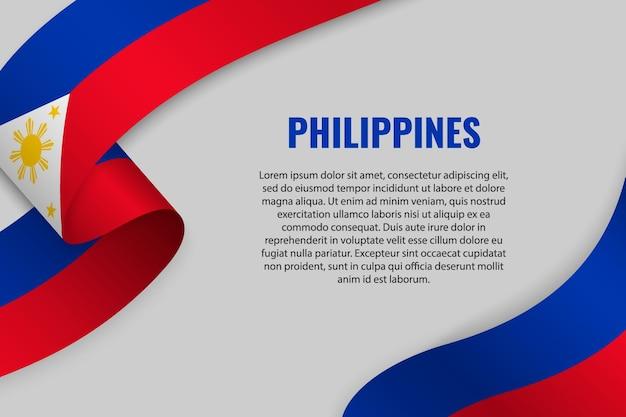 Wellenband oder fahne mit flagge der philippinen