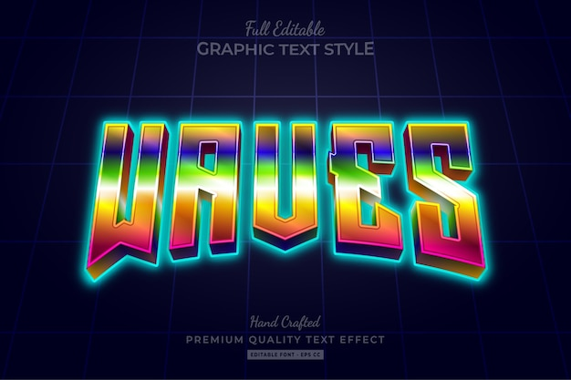 Wellenbearbeitbarer texteffekt mit farbverlauf der 80er jahre