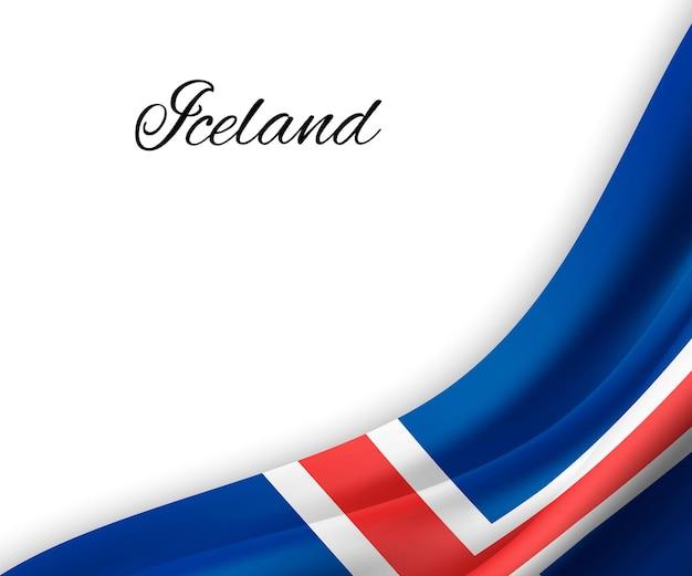 Wellenflagge von island auf weißem hintergrund.