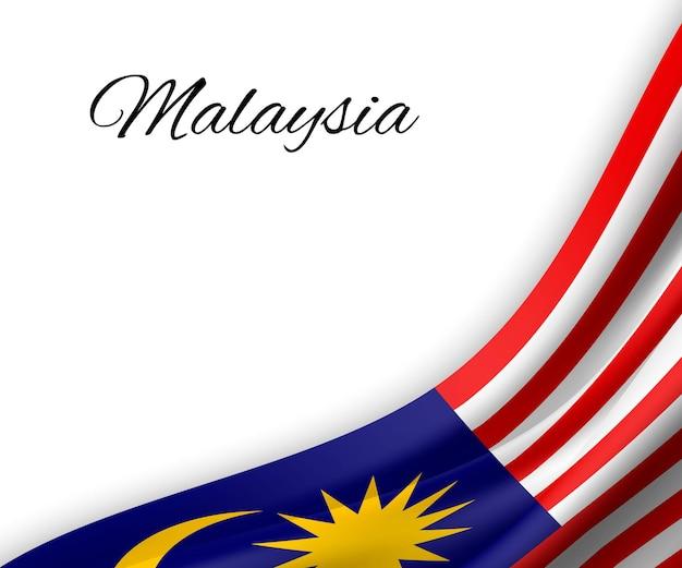 Wellenflagge von malaysia auf weißem hintergrund.