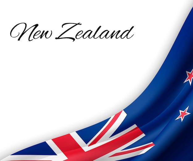 Wellenflagge von neuseeland auf weißem hintergrund.