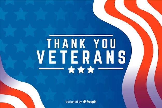 Wellenförmige amerikanische flagge mit danke veteranen