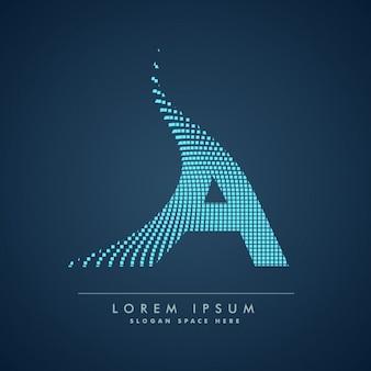 Wellenförmige buchstaben a logo in der abstrakten art