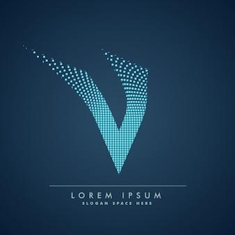 Wellenförmige buchstaben v-logo im abstrakten stil