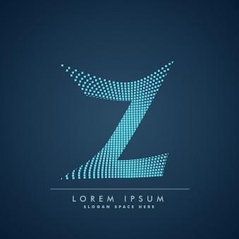 Wellenförmige buchstaben z-logo im abstrakten stil