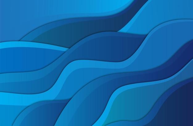 Wellenförmige flüssige form im blauen farbhintergrund kunstdesign