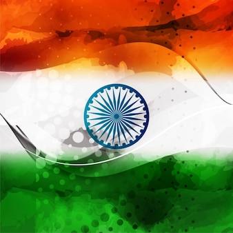 Wellenförmige indische flagge mit halbton-
