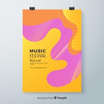 Wellenförmige musik festival poster