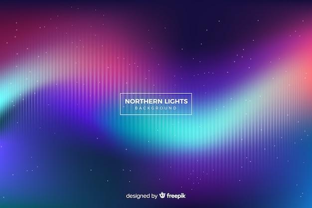 Wellenförmige nordlichter mit verblassenden linien und sternen