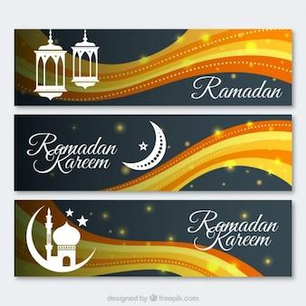 Wellenförmige ramadan banner