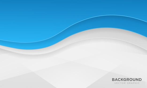 Wellenförmiger blauer und weißer farbverlaufhintergrund mit papierschnittart.