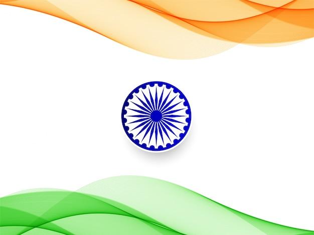 Wellenförmiger designhintergrund der abstrakten indischen flagge