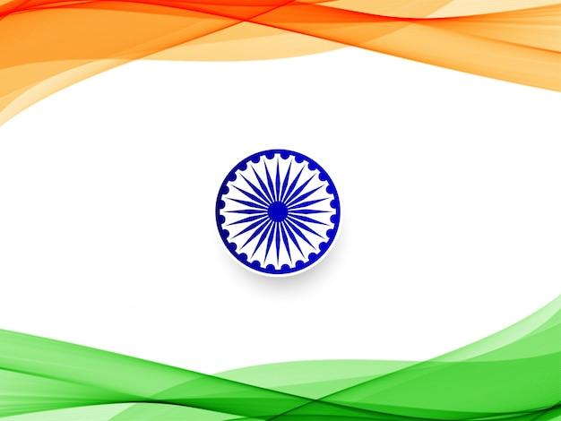 Wellenförmiger hintergrund der abstrakten indischen flagge