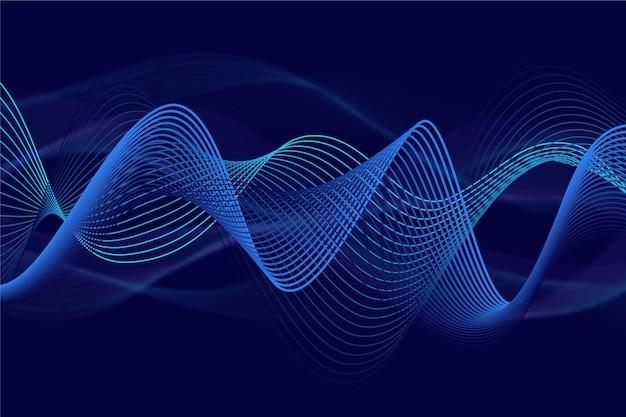 Wellenförmiger hintergrund funkelnder gradient blau