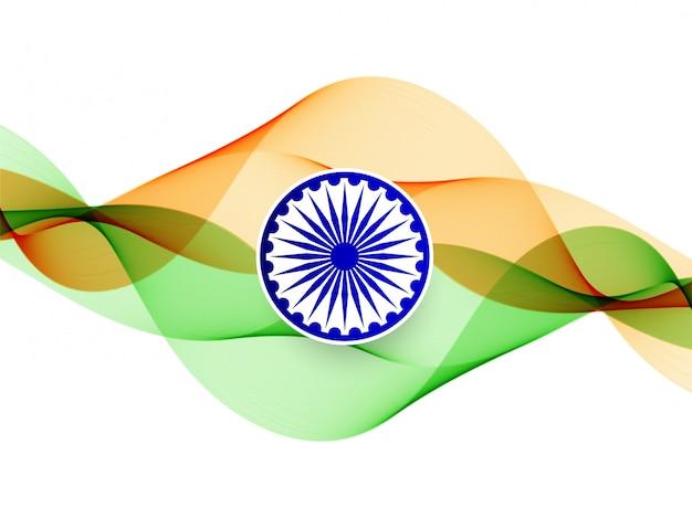 Wellenförmiger indischer flaggenthemahintergrund