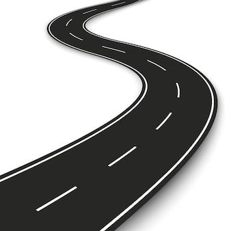 Wellenförmiger straßenstreifen. autobahnstreifenschablone für infografik und banner. illustration