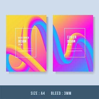 Wellenförmiges geometrisches mit flüssigem hintergrund. trendige farbverlaufsformen zusammensetzung