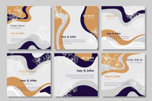 Wellenlinien hochzeitseinladungskarten