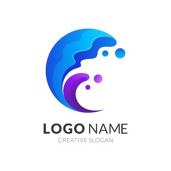 Wellenlogokonzept, moderner 3d-logo-stil in der farbe farbverlauf blau und lila
