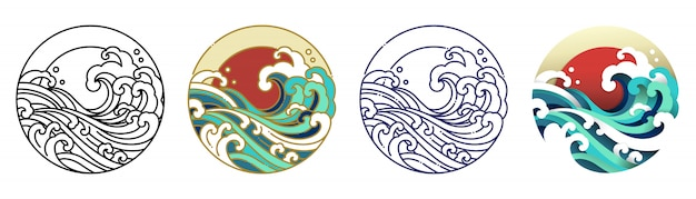 Wellenwasser- und sonnenkunstillustration.