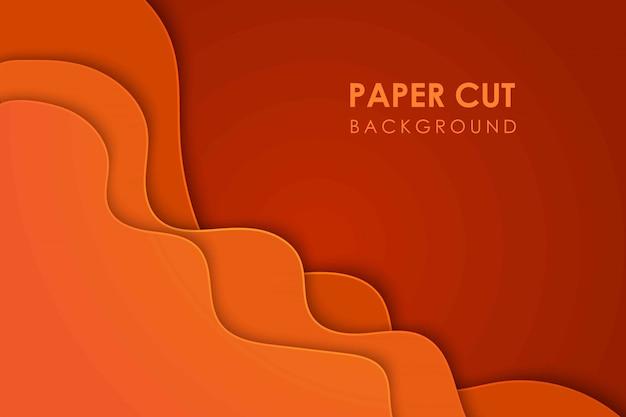 Wellige geometrische topographie des papierschnitts oder flüssiges geometrisches gradientenmuster des papierschnitts auf orangefarbenem 3d-mehrschichthintergrund