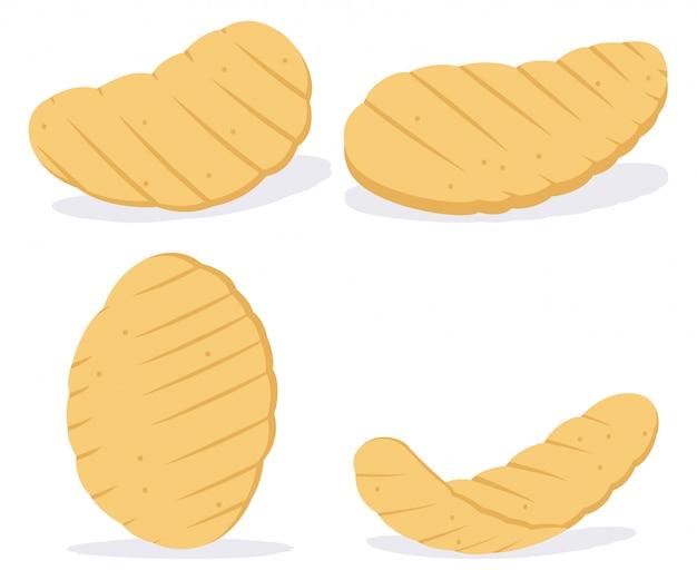 Wellige kartoffelchips. karikatur flache hütte gesetzt lokalisiert auf weißem hintergrund.