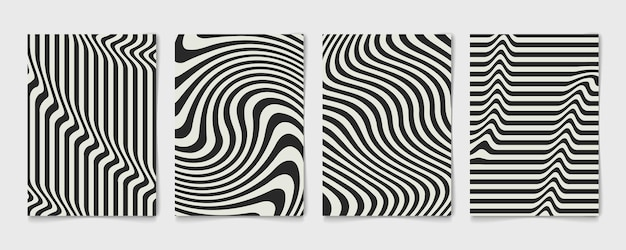 Welliges schwarzweiss-design der abstrakten linie der plakatsatzschablone. wave design dekorative jährliche abdeckung.