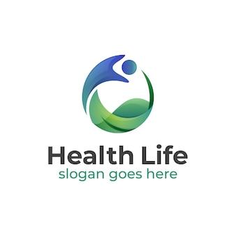 Wellness-center-logo-vorlage, gesundes leben mensch mit blatt-logo-design