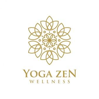 Wellness-logo mit einem schlichten und sauberen modernen design mit eleganter linienart für yoga-massagen oder spa- und beauty-geschäfte.