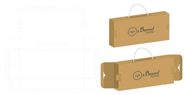 Wellpappe box gestanzt mit 3d-mock-up