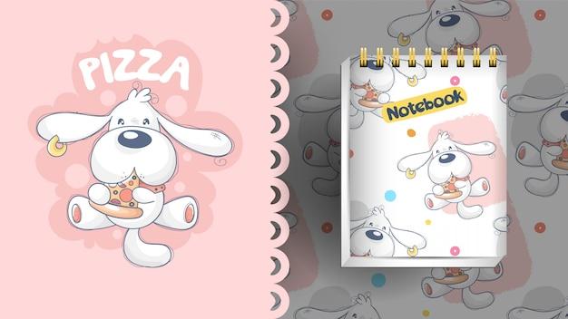 Welpe, der pizza mit ideen für notizbuch und muster isst