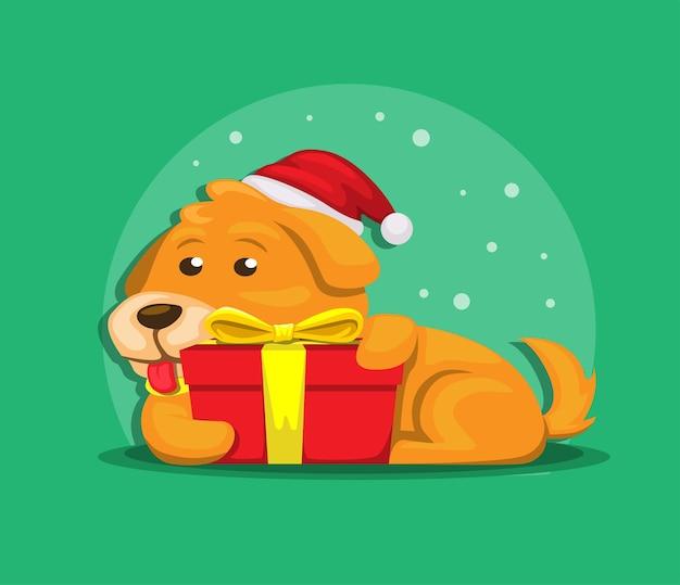 Welpe mit geschenkbox im weihnachtsjahreszeitillustrationsvektor