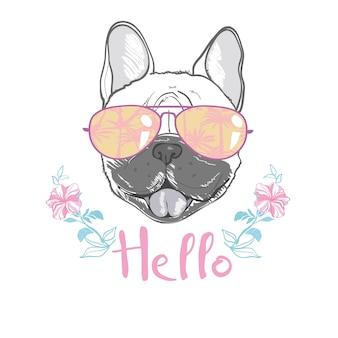 Welpe pug in einem stirnband auf rosa hintergrund. illustration.