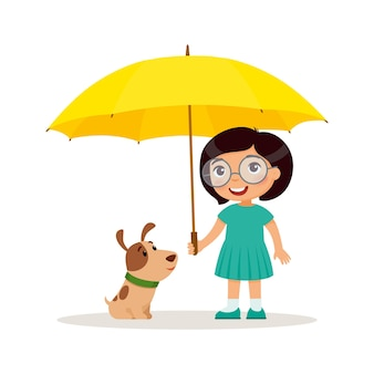 Welpe und süßes kleines mädchen mit gelbem regenschirm fröhliches schul- oder vorschulkind und ihr haustier Premium Vektoren