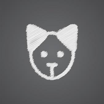Welpen-skizze-logo-doodle-symbol auf dunklem hintergrund isoliert