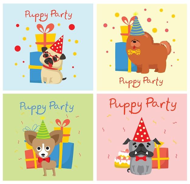 Welpenparty und niedliche grußkarten mit geschenken und welpenhundeflache artillustration