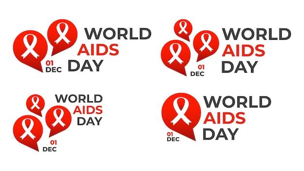 Welt-aids-tag-abzeichen-sammlung aids-band mit sprechblase