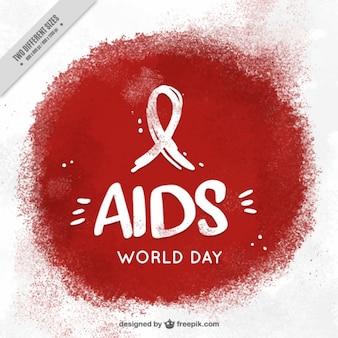 Welt-aids-tag hintergrund mit farbe fleck