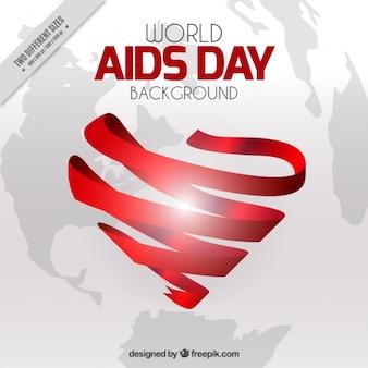 Welt-aids-tag hintergrund mit herz von band gemacht