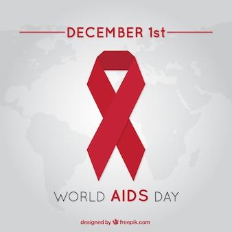 Welt-aids-tag hintergrund mit rotem band in flacher bauform