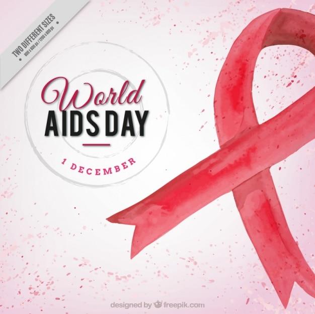 Welt-aids-tag hintergrund mit roten aquarell band